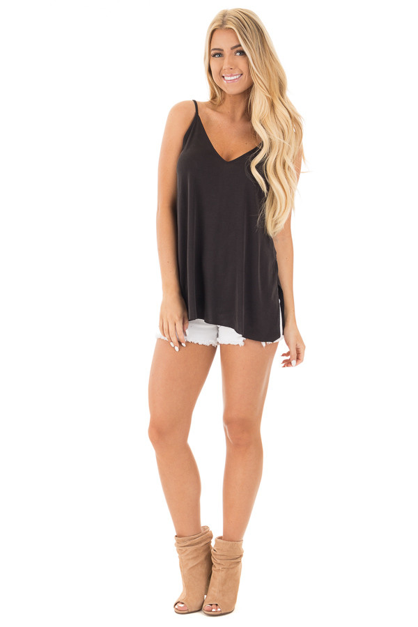 Black Thin Cami Top with Side Slits front full body