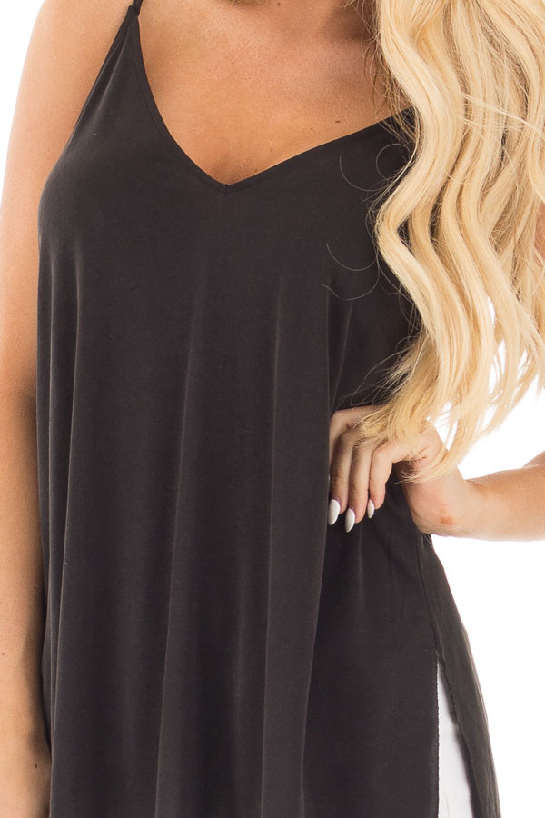 Black Thin Cami Top with Side Slits detail