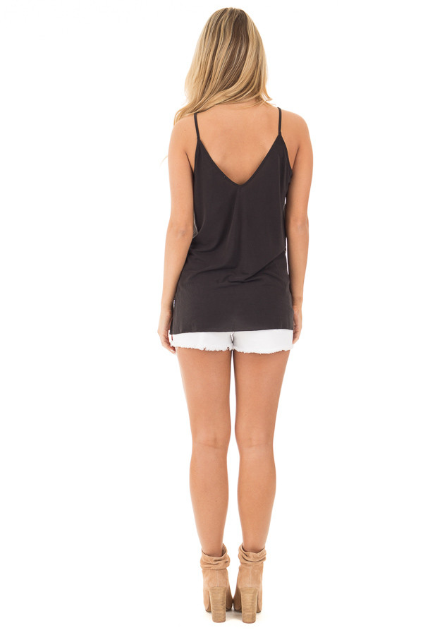 Black Thin Cami Top with Side Slits back full body
