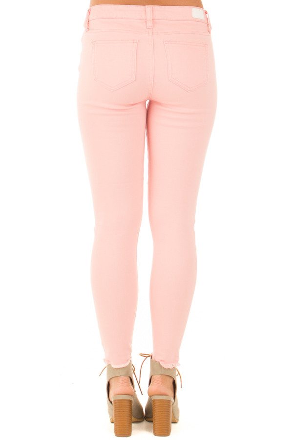 Light Pink Denim Mid Rise Ripped Knee Skinny Ankle Jeans back view