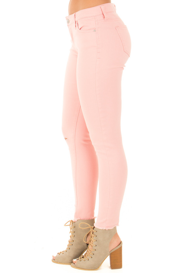 Light Pink Denim Mid Rise Ripped Knee Skinny Ankle Jeans side right leg
