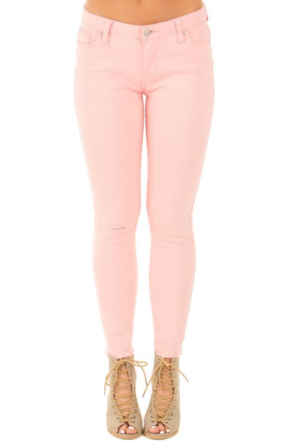 Light Pink Denim Mid Rise Ripped Knee Skinny Ankle Jeans front view