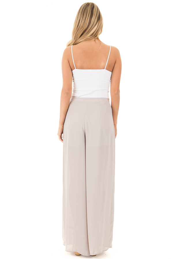 Silver High Waist Flowy Pants with Center Slit and Waist Tie back full body