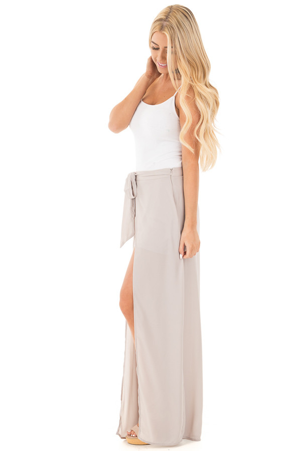 Silver High Waist Flowy Pants with Center Slit and Waist Tie side full body