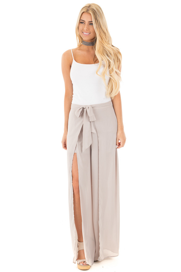 Silver High Waist Flowy Pants with Center Slit and Waist Tie front full body
