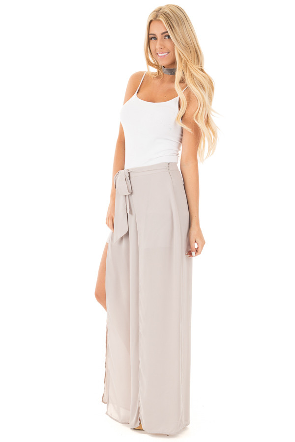 Silver High Waist Flowy Pants with Center Slit and Waist Tie front side full body