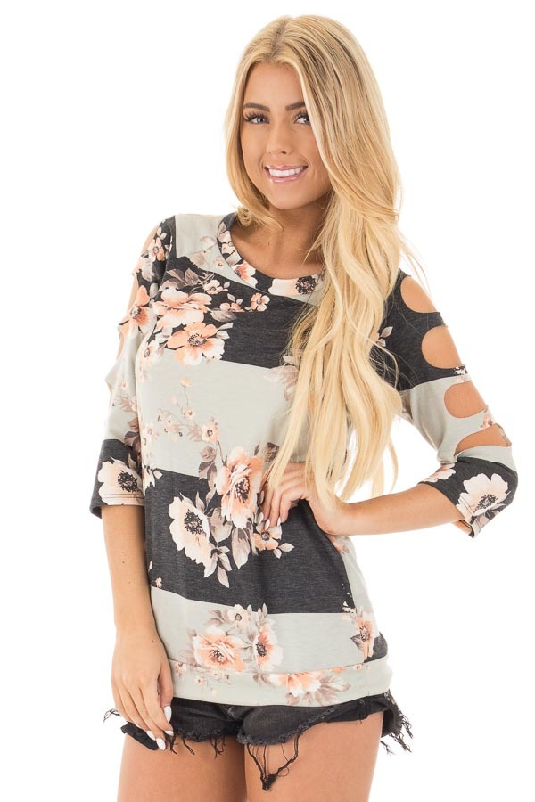Charcoal 3/4 Sleeve Striped Floral Cut Out Sleeve Detail Top front close up