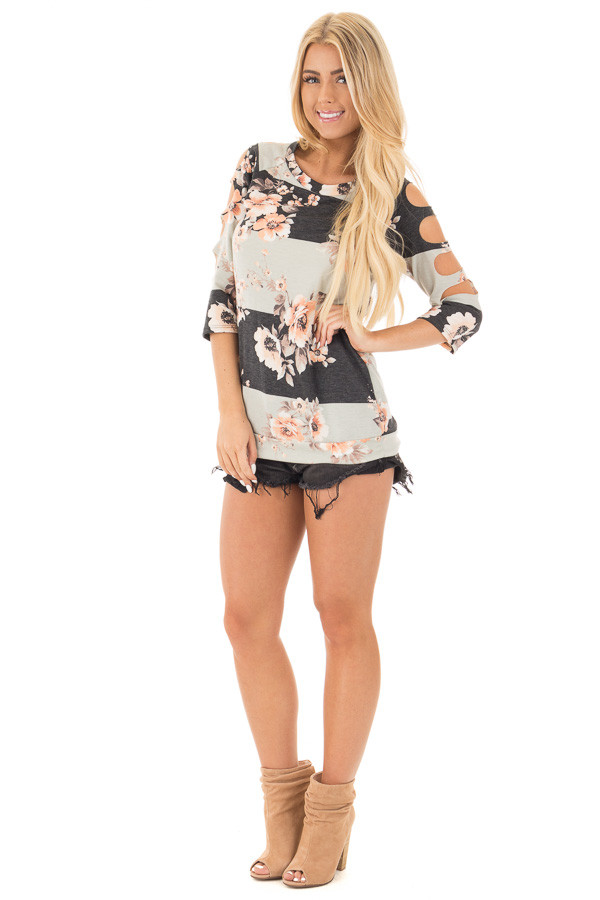 Charcoal 3/4 Sleeve Striped Floral Cut Out Sleeve Detail Top front full body