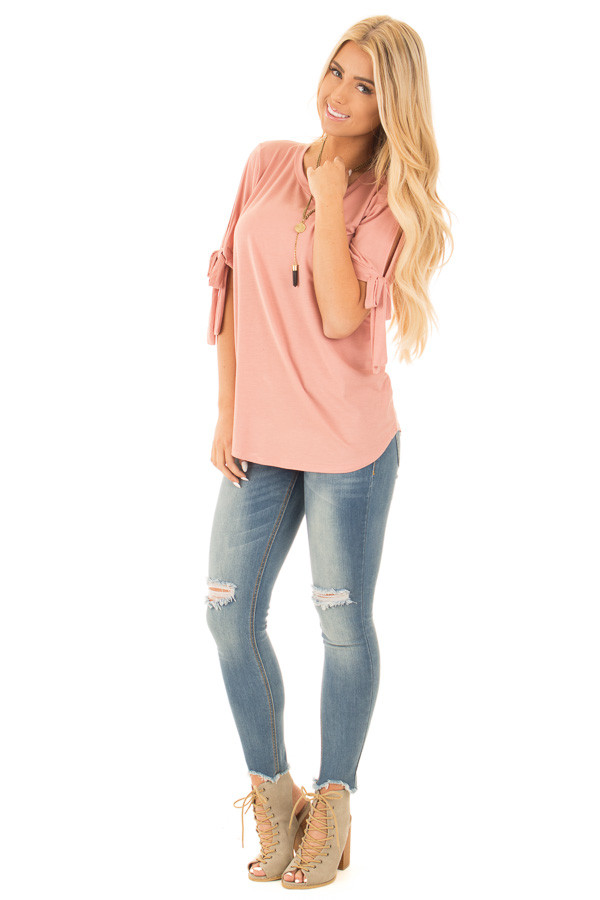Blush Bamboo Fabric Top with Tied Slit Sleeve front full body