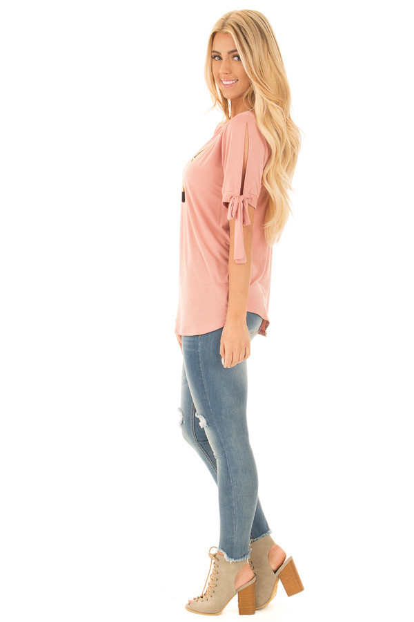 Blush Bamboo Fabric Top with Tied Slit Sleeve side full body