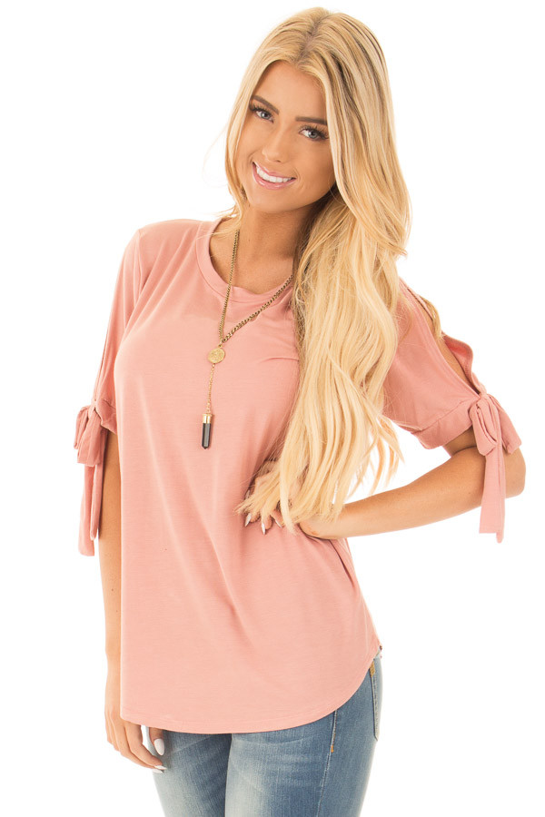 Blush Bamboo Fabric Top with Tied Slit Sleeve front close up