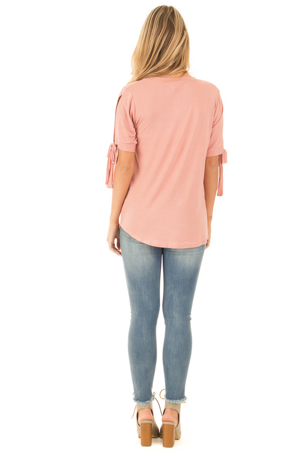 Blush Bamboo Fabric Top with Tied Slit Sleeve back full body