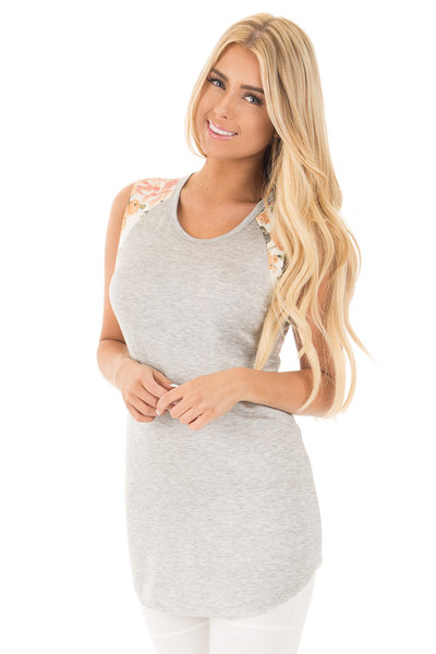 Heather Grey Top with Floral Sleeve Detail front close up