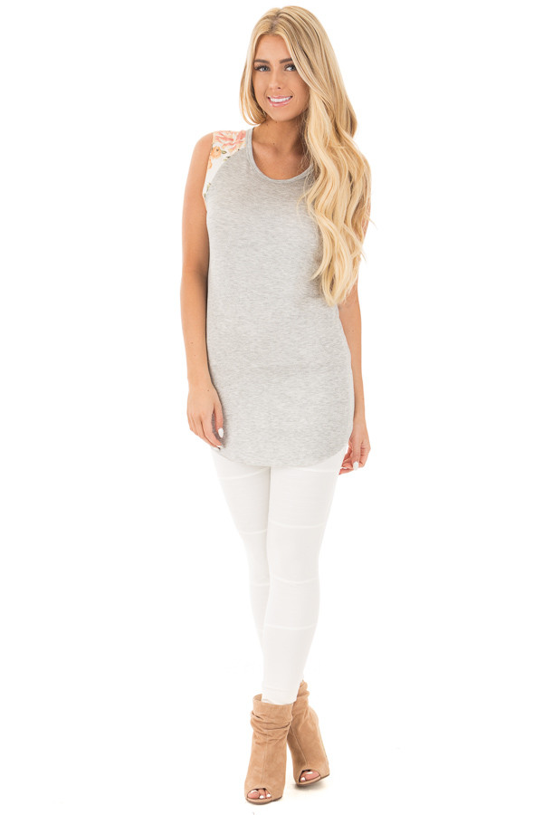 Heather Grey Top with Floral Sleeve Detail front full body