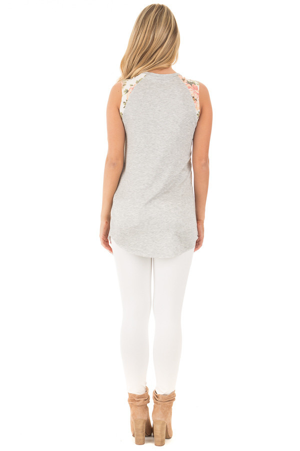 Heather Grey Top with Floral Sleeve Detail back full body