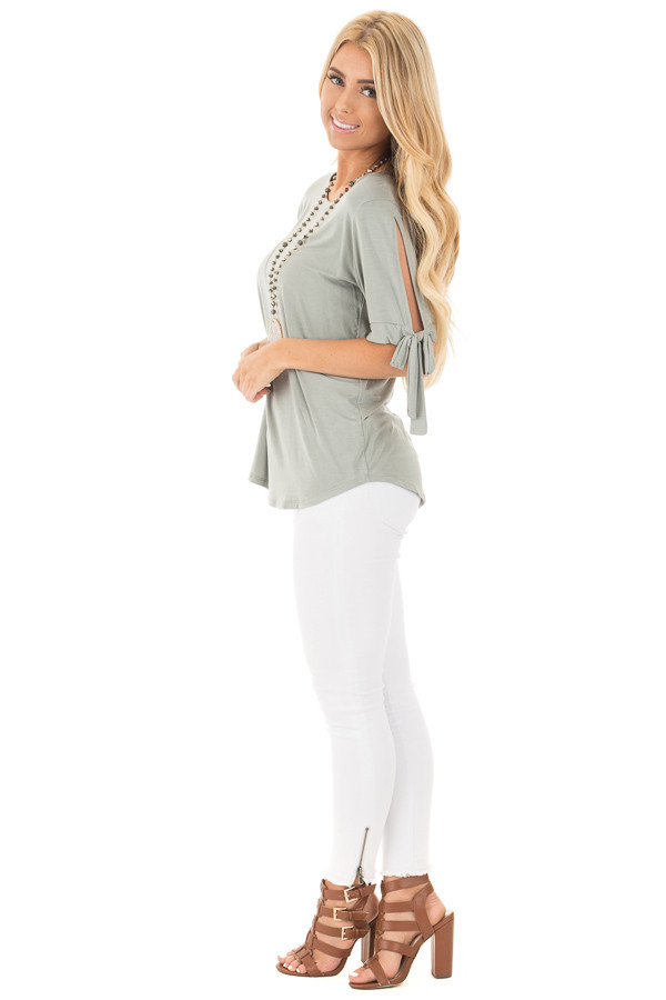 Sage Bamboo Fabric Top with Tied Slit Sleeve side full body