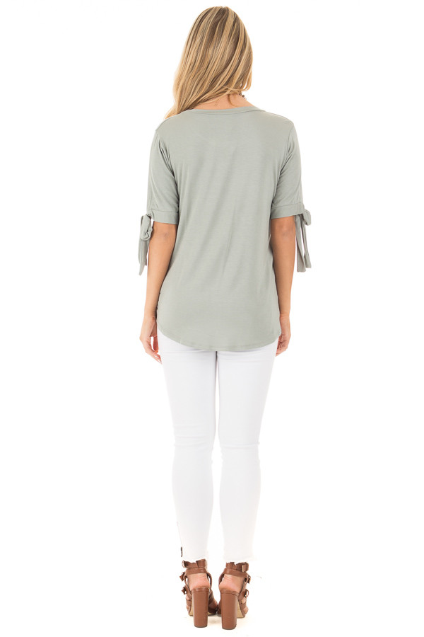 Sage Bamboo Fabric Top with Tied Slit Sleeve back full body