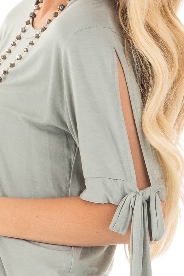 Sage Bamboo Fabric Top with Tied Slit Sleeve detail