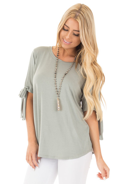 Sage Bamboo Fabric Top with Tied Slit Sleeve front close up