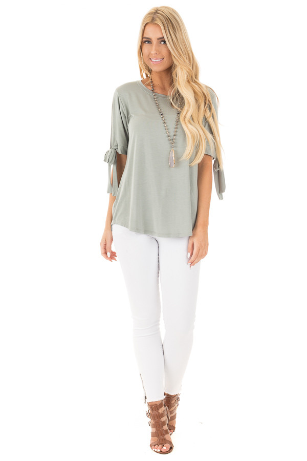 Sage Bamboo Fabric Top with Tied Slit Sleeve front full body