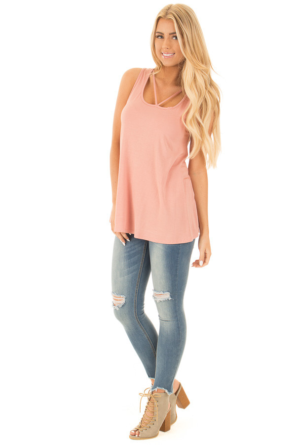 Blush Bamboo Fabric  V Strap Neckline Tank Top front full body