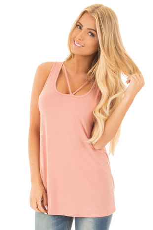 Blush Bamboo Fabric  V Strap Neckline Tank Top front close up