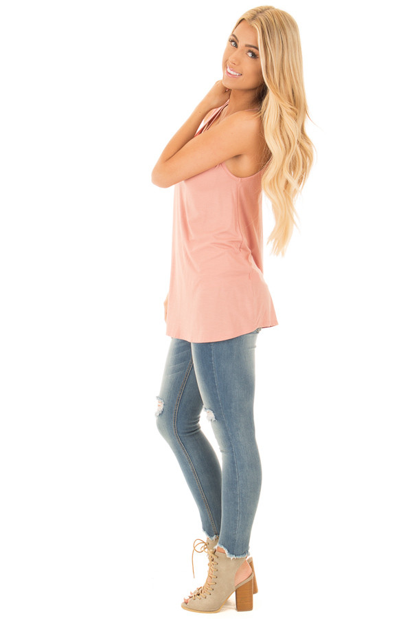 Blush Bamboo Fabric  V Strap Neckline Tank Top side full body