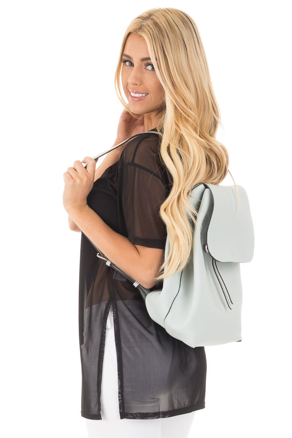 Dusty Light Blue Flap Over Faux Leather Backpack back side close