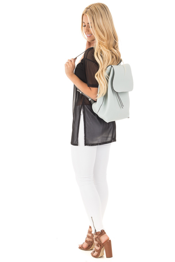 Dusty Light Blue Flap Over Faux Leather Backpack back side