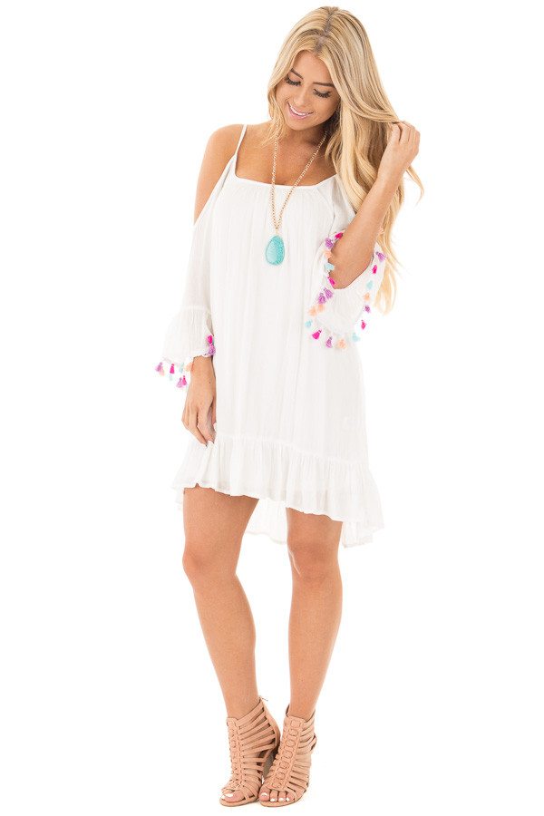 White Cold Shoulder Bell Sleeve Dress with Multi Color Tassels front full body