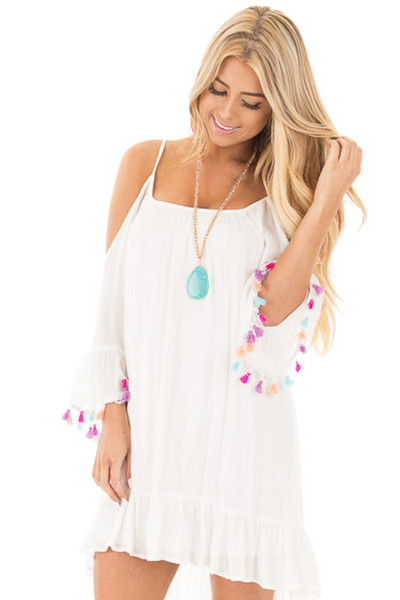 White Cold Shoulder Bell Sleeve Dress with Multi Color Tassels front close up