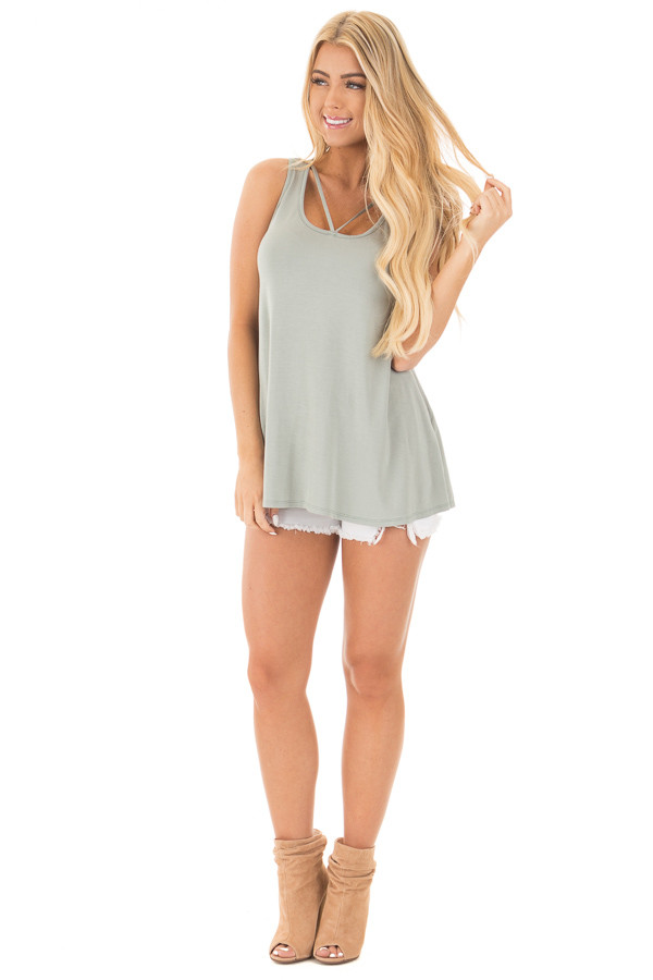 Sage Bamboo Fabric  V Strap Neckline Tank Top front full body