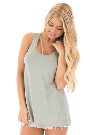 Sage Bamboo Fabric  V Strap Neckline Tank Top front close up