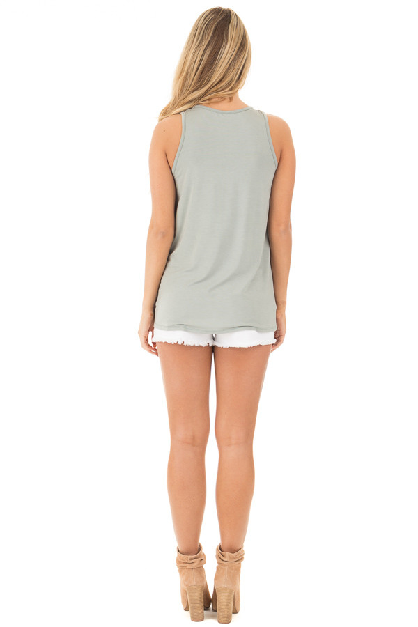 Sage Bamboo Fabric  V Strap Neckline Tank Top back full body