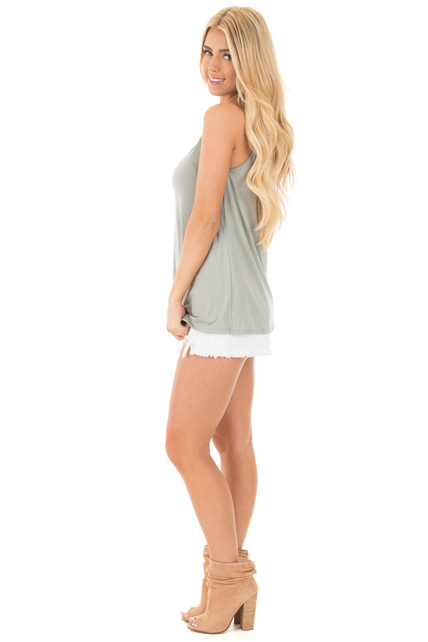 Sage Bamboo Fabric  V Strap Neckline Tank Top side full body