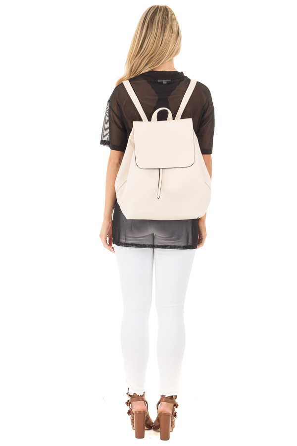 Cream Flap Over Faux Leather Backpack back