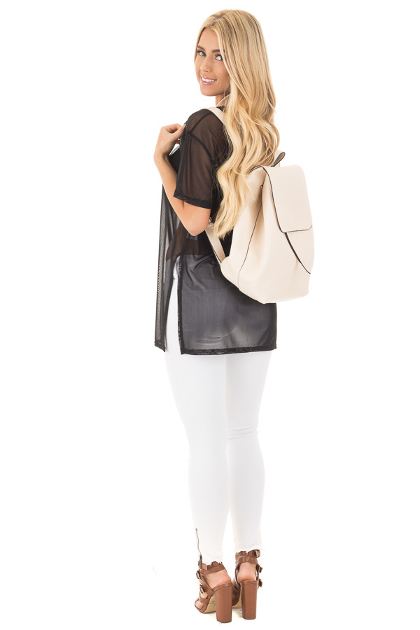Cream Flap Over Faux Leather Backpack back side