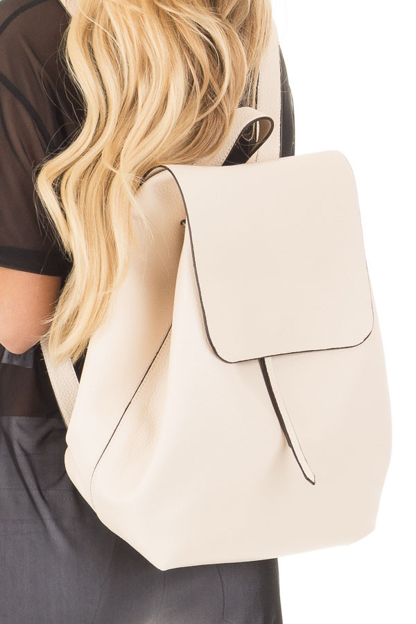 Cream Flap Over Faux Leather Backpack close