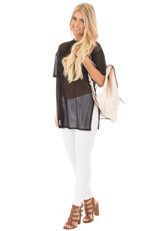 Cream Flap Over Faux Leather Backpack side