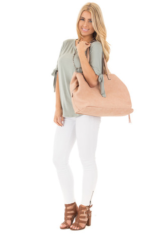 Dusty Rose Soft Faux Leather Large Carryall Purse