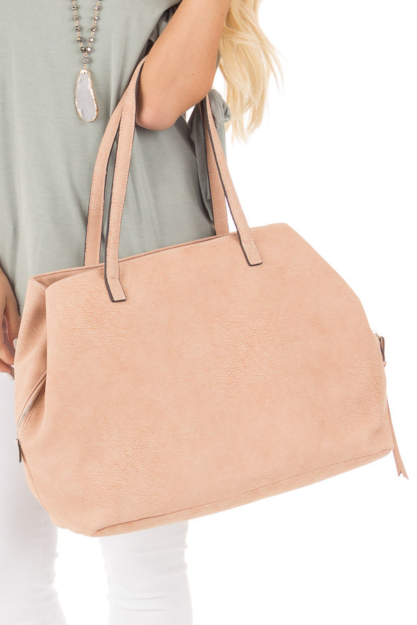 Dusty Rose Soft Faux Leather Large Carryall Purse close up