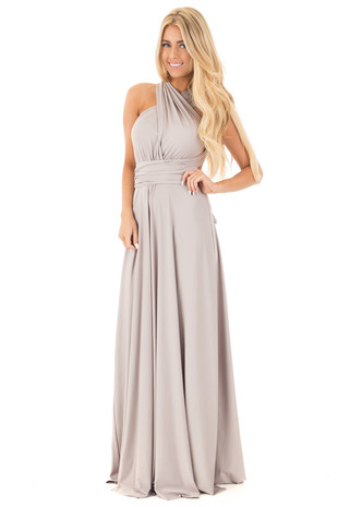 Moonstone Grey Maxi Multiway Halter Dress front full body