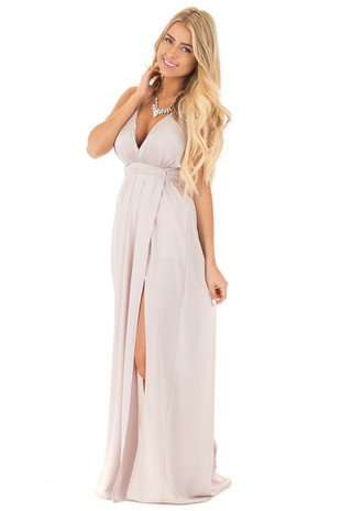 Isabelline Grey Seashell Bodice Halter Dress front full body