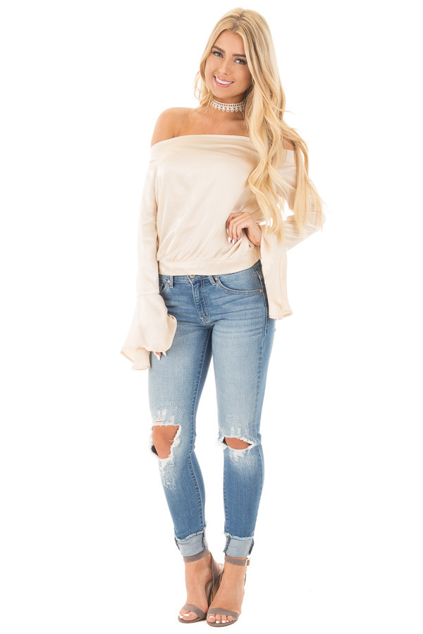 Champagne Satin Off the Shoulder Bell Sleeve Top front full body