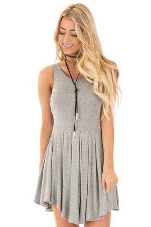 Heather Grey Baby Doll Sleeveless Racerback Dress front close up