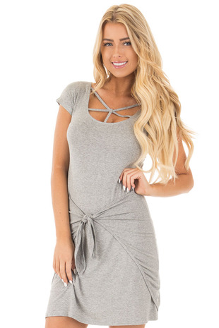 Grey Short Sleeve Body Con Dress with Front Tie front close up