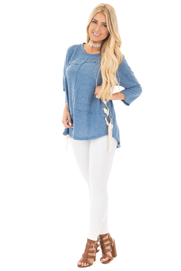 Ocean Blue 3/4 Sleeve Shoelace Drawstring Top front full body