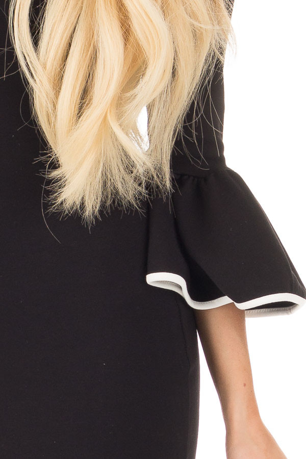 Black and White Bodycon 3/4 Bell Sleeve Dress detail