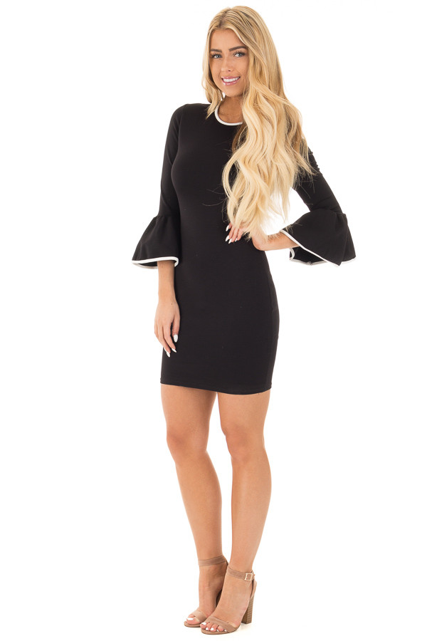Black and White Bodycon 3/4 Bell Sleeve Dress front full body