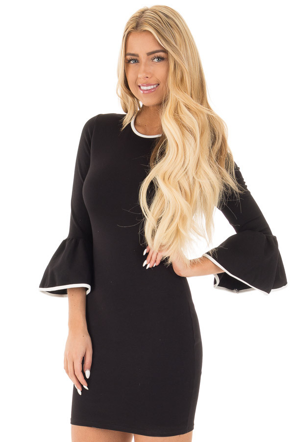 Black and White Bodycon 3/4 Bell Sleeve Dress front close up